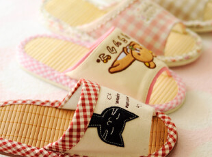日本单 男款女款情侣夏季竹底居家拖鞋 地板鞋 轻松熊 田园蕾丝,拖鞋,