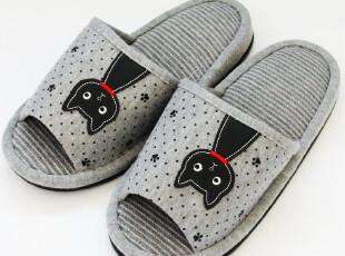 外贸订单多余 贴布刺绣 小猫 布艺拖鞋 春秋女室内家居 居家拖鞋,拖鞋,