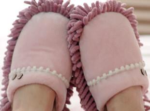 出口余单 小木扣花边浅紫色 雪尼尔懒人拖鞋 擦地鞋,拖鞋,