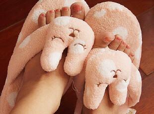 【68包邮】大牌梨花条纹熊|粉梨花波点兔夹角地板人字拖|家居拖鞋,拖鞋,