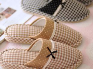 出口日本 森女系 格子花边蝴蝶结 家居拖鞋 地板拖鞋 2色选,拖鞋,