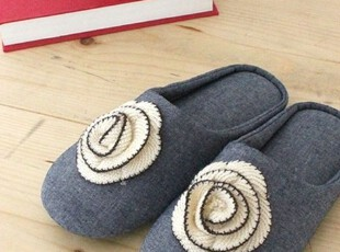 【Asa room】韩国进口居家用品代购 牛仔色花朵拖鞋tx07,拖鞋,