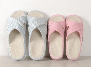 出口日本日本亚麻拖鞋 情侣居家拖鞋 夏季凉拖 纯棉条纹 男女款,拖鞋,