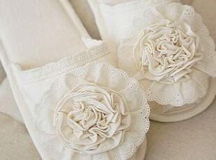 韩国进口代购 浪漫花边花朵家居鞋室内拖鞋 地板拖 软底鞋,拖鞋,