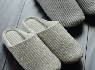 无印良品MUJI原单正品 大气条纹款情侣地板拖鞋家居拖鞋软底拖鞋,拖鞋,