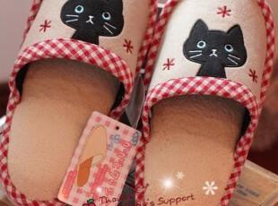 特价 日单 黑色猫咪家居拖鞋 0.2KG,拖鞋,