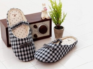 【Asa room】韩国进口居家用品代购 黑色格子拖鞋tx05-b,拖鞋,