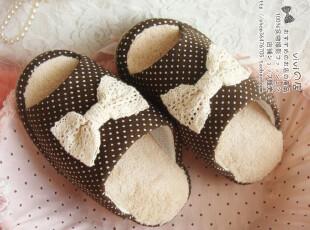 外贸日单 蕾丝蝴蝶结水玉点点半掌减肥塑身家居室内拖鞋 春秋季,拖鞋,
