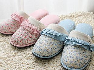 现货!特价优雅碎花印点木耳边拖鞋 居家鞋 室内拖鞋 2个颜色,拖鞋,