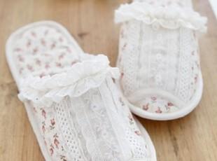 【Asa room】韩国进口居家用品代购 米白色碎花拖鞋tx01,拖鞋,