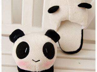 韩国超柔超萌物 表情熊猫 毛绒情侣拖鞋 秋冬家居保暖拖熊猫拖鞋,拖鞋,