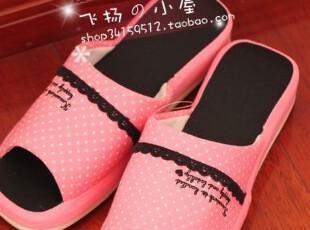 特价 超美 日单玫粉波点黑色蕾丝小花边坡跟露趾居家拖鞋 0.2KG,拖鞋,