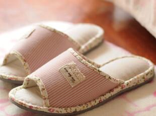 日单 春夏款碎花小条纹 居家拖鞋 女士地板拖鞋 2色选,拖鞋,