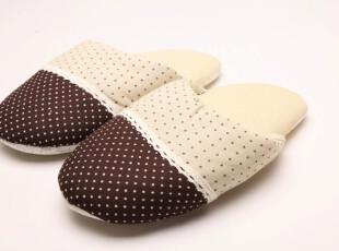 杏色咖啡色圆点防滑居家拖鞋 宜家无印良品MUJI日式棉麻布拖鞋,拖鞋,