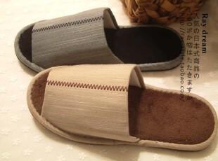 原单 素色款大码男拖鞋 珊瑚绒底棉麻男式家居拖。两色选,拖鞋,
