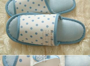 超值特.清新可爱蓝色波点 女款低弹绵冷感家居拖鞋 夏季拖鞋,拖鞋,