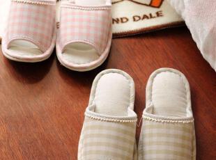 日单 春夏款格子小花边 居家拖鞋 女士地板拖鞋 2色选,拖鞋,