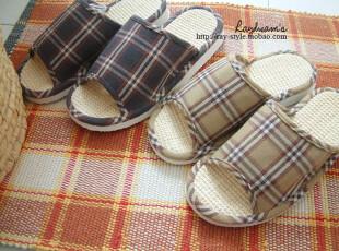 日单●外贸开口家居鞋 日式棉麻地板拖鞋/情侣款●男式0.18KG,拖鞋,