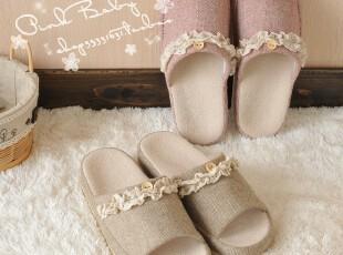 Pink Baby蕾丝盆拖 简约家居拖鞋男女拖鞋地板拖鞋鱼嘴拖室内拖,拖鞋,