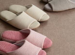 MUJI无印良品 原单正品 条纹全棉拖鞋情侣拖鞋家居地板拖鞋软拖鞋,拖鞋,