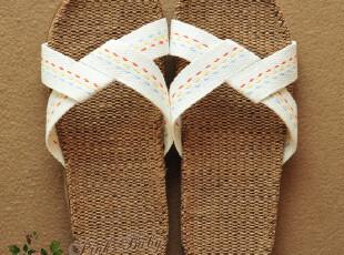 硕夏季凉拖亚麻拖鞋居家拖鞋虚线女款拖鞋家居拖鞋(不伤木地板),拖鞋,