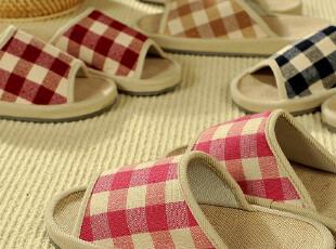 F1019 日式棉麻四季家居拖鞋 居家鞋 地板鞋 苏格兰方格,拖鞋,