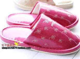 日本品牌家居拖鞋 浴室专用拖鞋幸运草刺绣防水鞋底PU革2色入,拖鞋,
