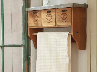 集美 日式Zakka杂货 旧木厨房|浴室|客厅收纳 壁挂挂架 3连钩挂钩,挂钩,