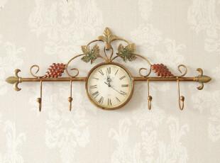欧式田园乡村家装创意时尚挂钩钟表艺术静音挂钟客厅家居壁饰,挂钩,
