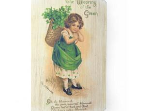 外贸原单*北欧乡村风格装饰原木板画挂钩*背竹篓的金发可爱小女孩,挂钩,