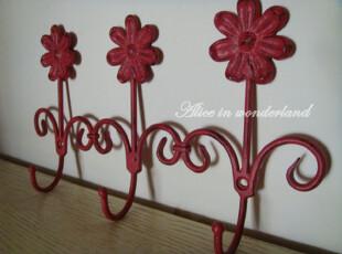 复古红 花三朵 铁艺作旧挂钩,挂钩,