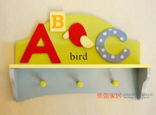 ABC挂衣架 空间大师衣帽架 时尚田园创意木质壁挂 可爱装饰搁板,挂钩,