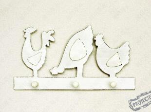 【地中海,家饰精品】磨白图卢克快乐三小鸡挂钩墙饰木制衣帽挂,挂钩,