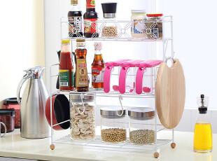 欧润哲 大号三层架厨房收纳架+S挂钩 日本厨房置物架韩国厨房用具,挂钩,