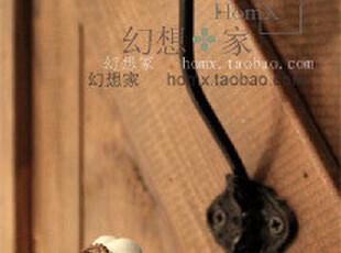 彩色球形古典陶瓷头黑色铁艺衣帽挂钩(多色),挂钩,
