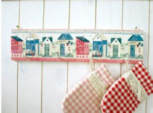 【韩国家居】田园风 手绘彩色房子 木制4连钩挂架挂钩,挂钩,