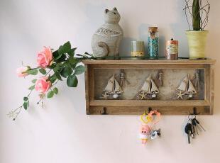 地中海风格 带挂钩做旧装饰搁板 复古家居装饰架 原木置物架,挂钩,