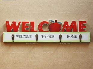韩式田园清新风格*红苹果welcome欢迎挂钩*四勾*衣帽勾,挂钩,
