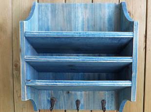 地中海水洗蓝三层挂钩 信封报刊收纳盒 丝印英文钥匙架收纳 壁挂,挂钩,