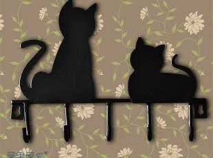 欧式家居 小猫装饰 铁艺 田园 挂钩 门背挂衣帽 钥匙 毛巾挂钩架,挂钩,