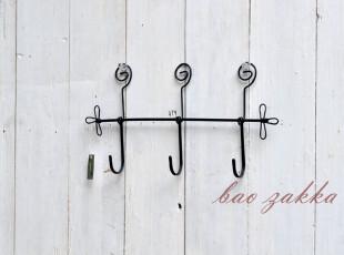 Bao ZAKKA 日单 杂货  壁挂 左右三叶纹 3头小挂钩 铁锈色,挂钩,