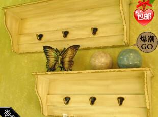 正品欧式木质复古置物架时尚挂钩木质壁挂墙饰壁饰挂饰家居品,挂钩,