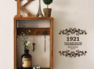 zakka 杂货 复古做旧 木制壁挂+铁丝网 钥匙盒 壁挂 钥匙挂钩,挂钩,