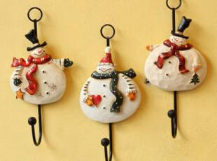 Q 欧式外单 田园乡村圣诞雪人铁艺衣帽挂钩 壁挂装饰墙上挂钩,挂钩,