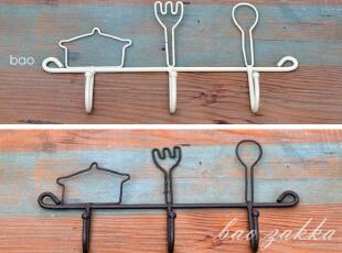 Bao ZAKKA 杂货新品 铁锈色 铁线锅叉勺 3头挂钩 2色可选,挂钩,