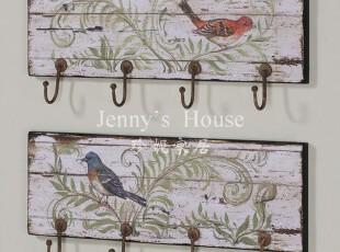 美式乡村 仿古做旧家居软装饰品 实木鸟趣图壁挂挂钩 可立特出口,挂钩,