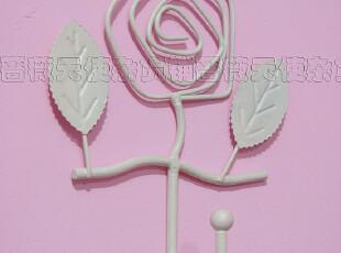 韩式田园 白色铁艺玫瑰挂钩钥匙钩衣帽钩首饰钩,挂钩,