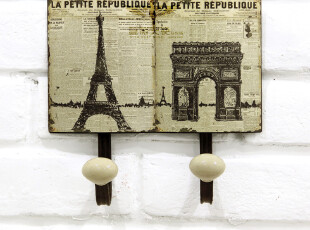 欧式乡村 法国建筑风格复古铁艺装饰挂衣钩挂钩衣帽钩 艾菲尔铁塔,挂钩,