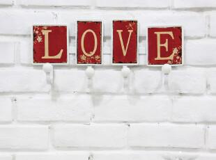 欧式乡村 结婚房红色装饰铁艺挂衣钩创意时尚挂钩 LOVE生日礼品,挂钩,