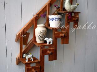 BAO ZAKKA 杂货 自然风旧木 4层楼梯式4挂钩 置物架 壁饰391312,挂钩,